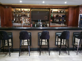 Decorative glass panels inside a bar