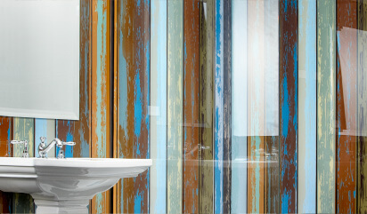 glass bathroom wall