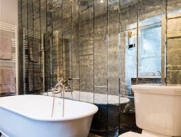 mirrored bathroom tiles