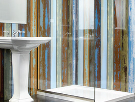 Shower and sink with glass panel walls